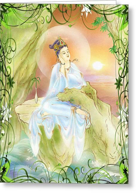 Life-extending Kuan Yin 1 Greeting Card by Lanjee Chee