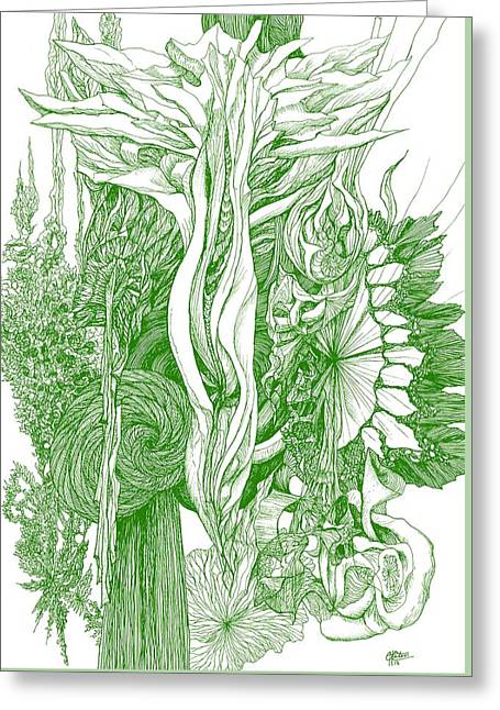 Life Force  - Green Greeting Card by Charles Cater