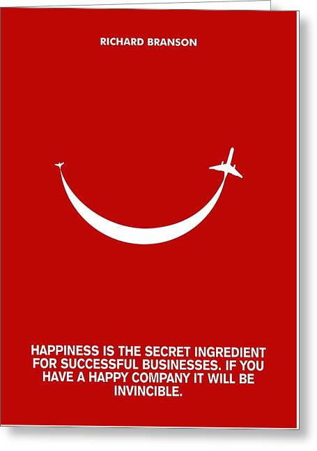 Life Happiness Quote Richard Branson  Quotes Poster Greeting Card by Lab no 4 The Quotography Department