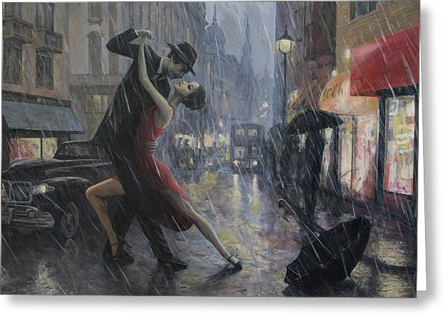 Life Is A Dance In The Rain Greeting Card by Adrian Borda
