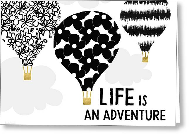 Life Is An Aventure Hot Air Balloon- Art By Linda Woods Greeting Card
