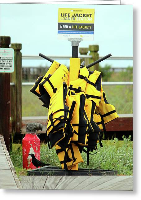 Life Jacket Station Greeting Card by Cynthia Guinn