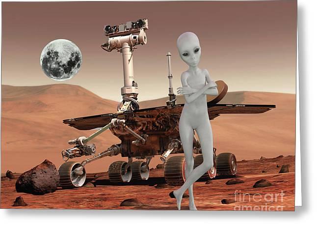 Life On Mars Greeting Card by KaFra Art