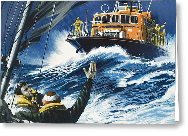 Life Savers Greeting Card by Wilf Hardy