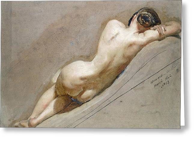 Sleep Paintings Greeting Cards - Life study of the female figure Greeting Card by William Edward Frost