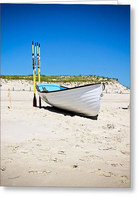 Lifeboat And Oars Greeting Card by Colleen Kammerer