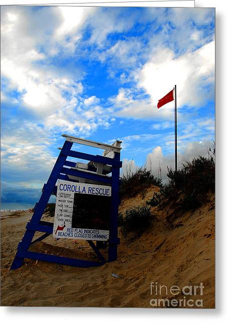 Lifeguard Aol Greeting Card by Linda Mesibov