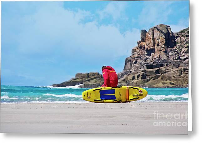 Lifeguard At Gwenver Greeting Card