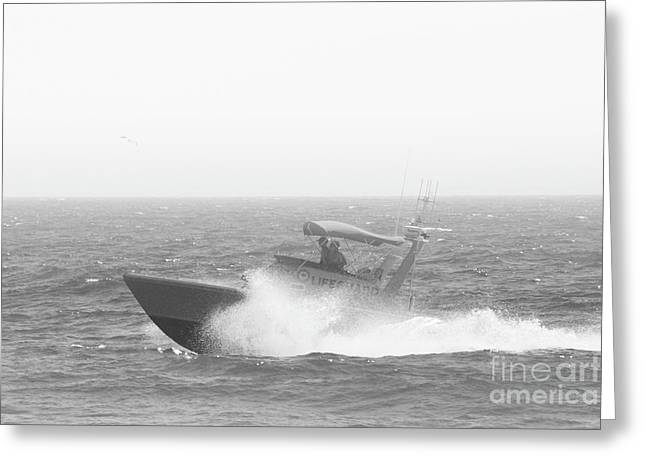 Lifeguard Boat In Black And White Greeting Card