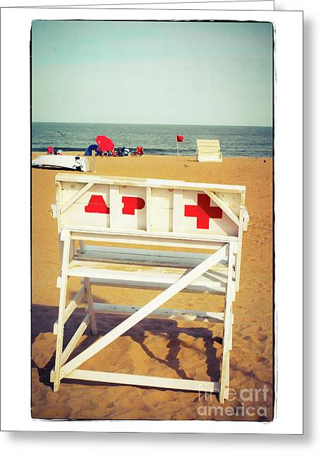 Greeting Card featuring the photograph Lifeguard Chair - Asbury Park by Colleen Kammerer