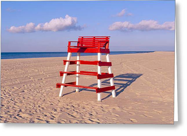 Lifeguard Chair At The Beach Greeting Card by Panoramic Images