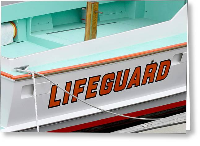 Lifeguard Rescue Boat Greeting Card by Art Block Collections