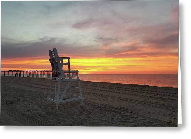 Lifeguard Stand On The Beach At Sunrise Greeting Card