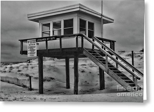 Lifeguard Station 2 In Black And White Greeting Card by Paul Ward