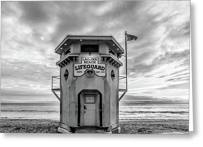 Greeting Card featuring the photograph Lifeguard Station In Black And While by Cliff Wassmann