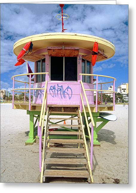 Lifeguard Station South Beach Miami  Florida Greeting Card by George Oze