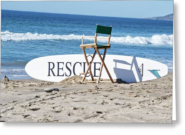 Lifeguard Surfboard Rescue Station  Greeting Card