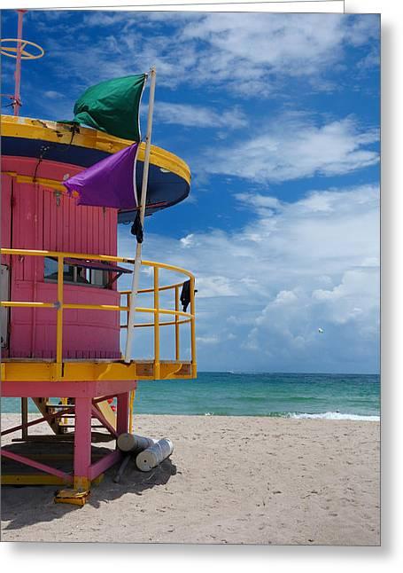 Lifeguard Tower - South Beach - Miami Greeting Card