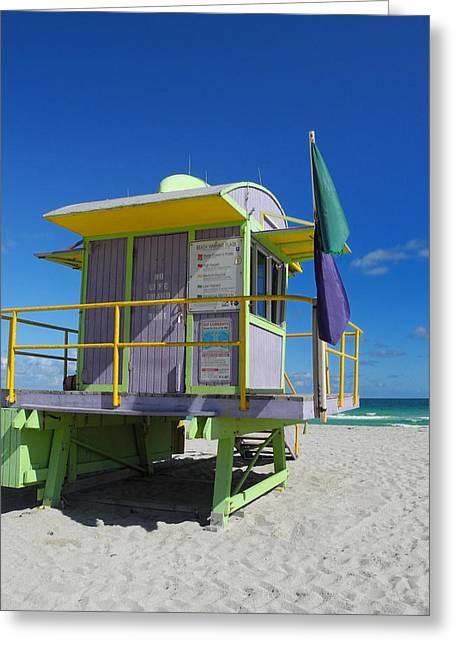 Lifeguard Tower 2 - South Beach - Miami Greeting Card