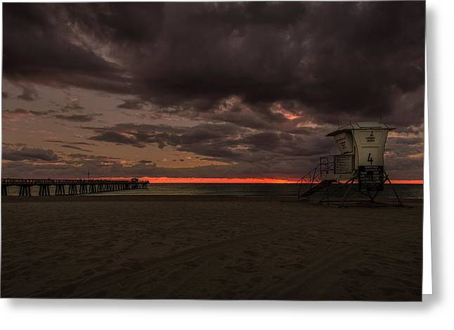 Lifeguard Tower At Sunrise Greeting Card