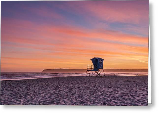 Lifeguard Tower Sunset Greeting Card