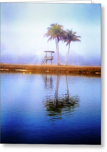 Lifeguard Tower Under The Palms Greeting Card by Debra and Dave Vanderlaan