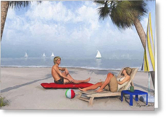 Greeting Card featuring the digital art Life's A Beach by Jayne Wilson
