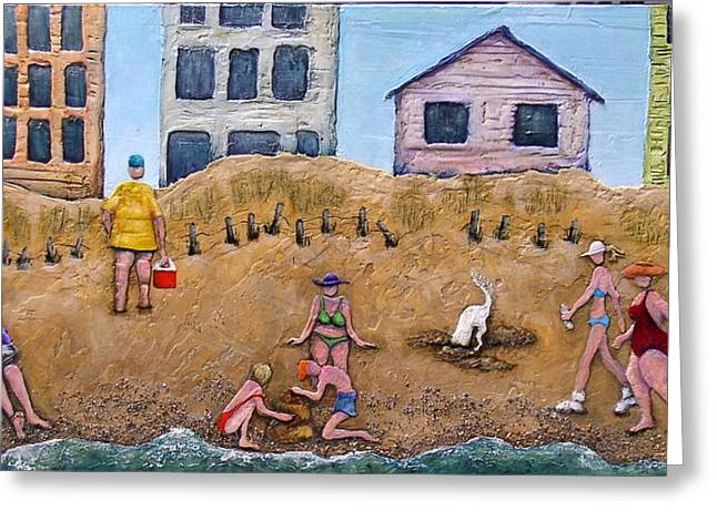 Dog Reliefs Greeting Cards - Lifes a Beach Greeting Card by Linda Carmel