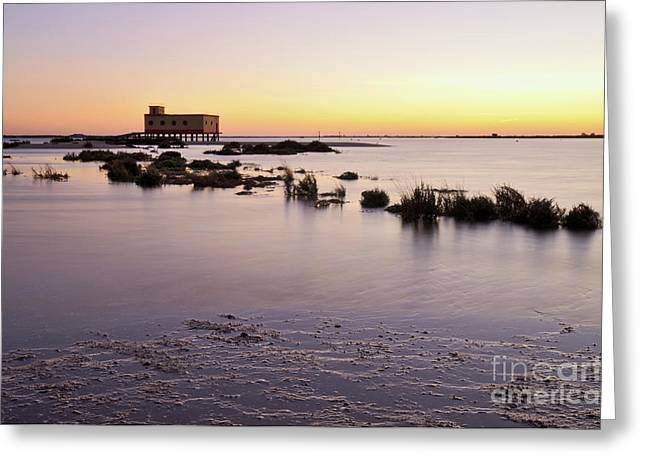 Lifesavers Building And Tides In Fuzeta Greeting Card by Angelo DeVal
