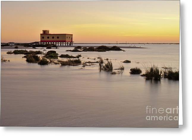 Lifesavers Building At Dusk In Fuzeta. Portugal Greeting Card by Angelo DeVal