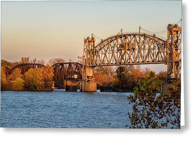 Lift Bridge At Sunset Greeting Card by James Barber