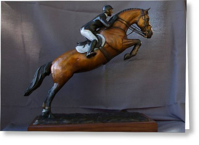 Liftoff Show Jumper Bronze Horse Statue Greeting Card by Kim Corpany