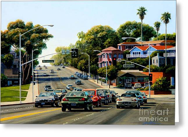 Light At Broadway Laguna Greeting Card by Frank Dalton