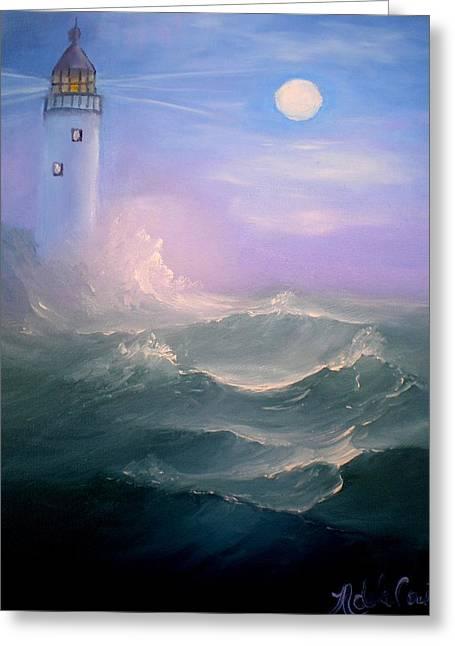 Light At Sea Greeting Card