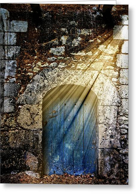 Light At The Blue Door Greeting Card