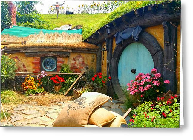 Light Blue Hobbit Door Greeting Card