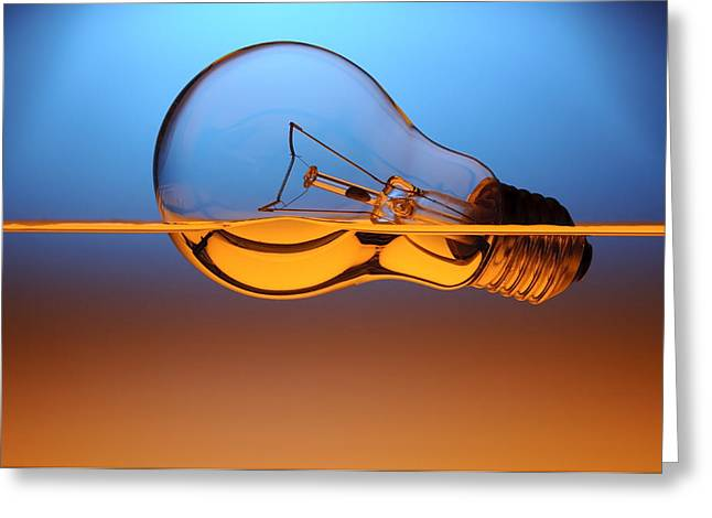 Incandescent Greeting Cards - Light Bulb In Water Greeting Card by Setsiri Silapasuwanchai