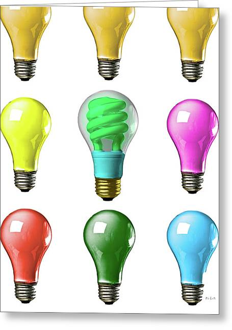 Green And Yellow Abstract Greeting Cards - Light bulbs of a different color Greeting Card by Bob Orsillo