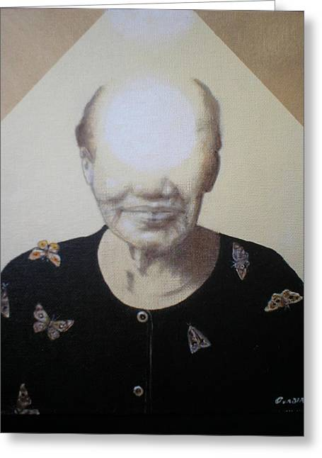 Light Face Greeting Card by Jimmy  Ovadia