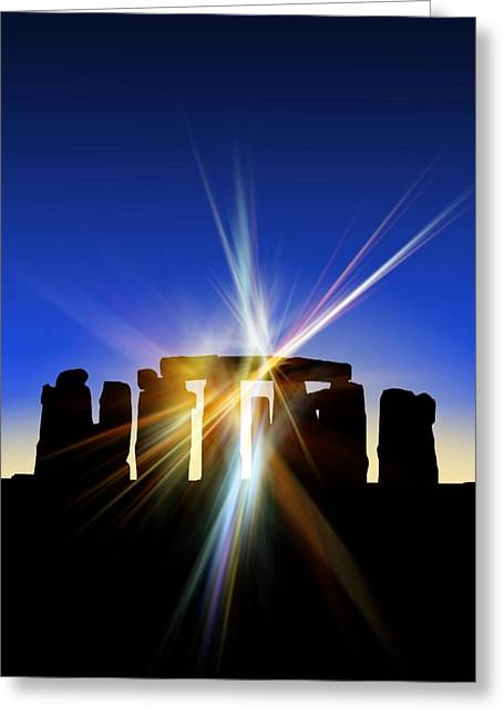 Light Flares At Stonehenge, Artwork Greeting Card