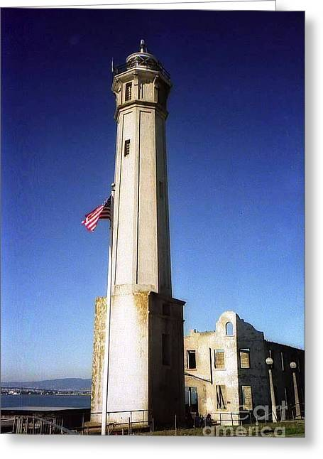 light house Alcatraz SF bay area Greeting Card by Ted Pollard