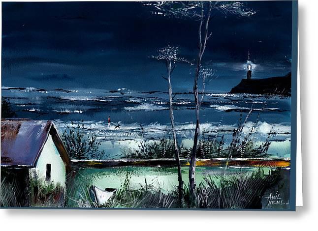 Light House Greeting Card by Anil Nene