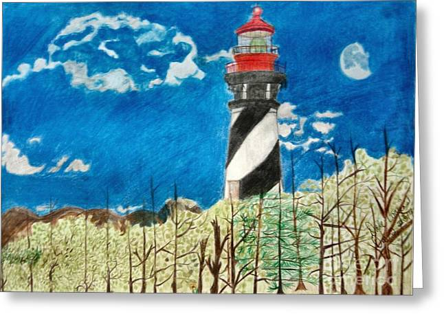 Light House By The Sea Greeting Card by Dale Ballenger