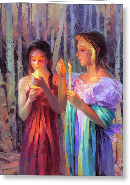 Greeting Card featuring the painting Light In The Forest by Steve Henderson