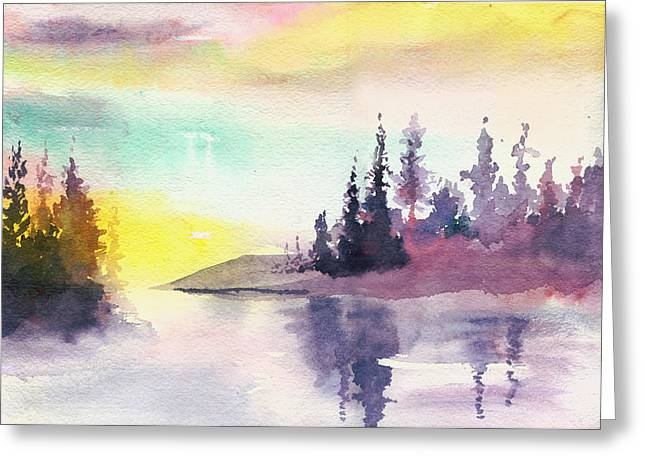 White River Scene Mixed Media Greeting Cards - Light n River Greeting Card by Anil Nene