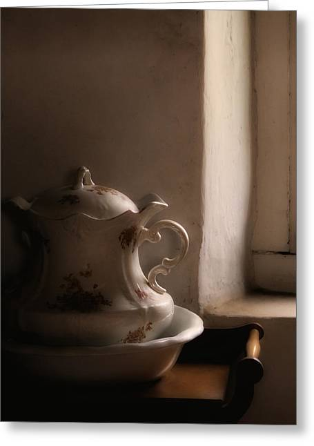 Light Of Day - Antique Pitcher And Basin Greeting Card by Mitch Spence