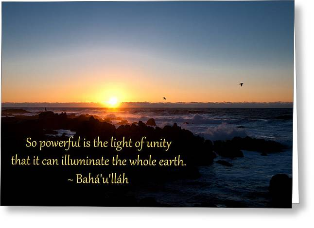 Light Of Unity Greeting Card by Baha'i Writings As Art