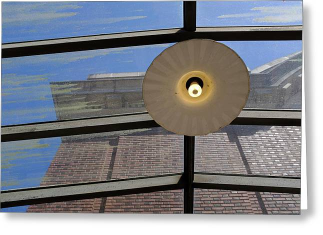 Light On A Dirty Glass Ceiling In Tacoma Washington Greeting Card
