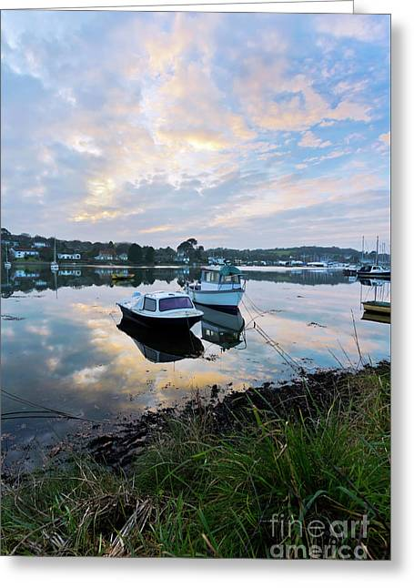 Light On The Boats Greeting Card