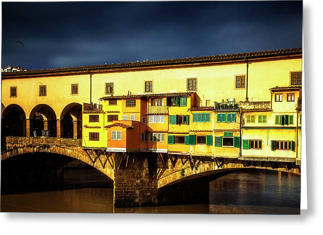 Greeting Card featuring the photograph Light On The Ponte Vecchio by Andrew Soundarajan